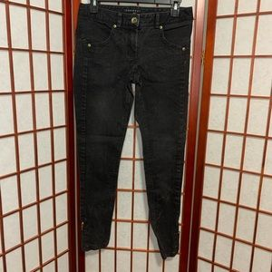 Theory black skinny jeans zipper ankle